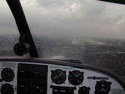 Landing in the rain...